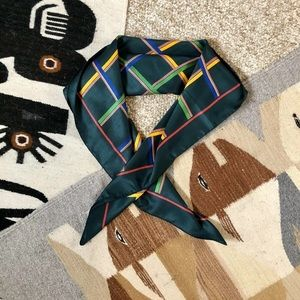 80s Window Pane Check Silk Scarf Sun Kyung Sa